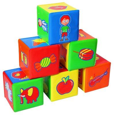 6 Piece Activity Cubes -- Educational Soft Puzzle Building