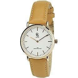 GG Luxe Damen-Armbanduhr soldes Valentinstag Silber Gold Quartz Gehäuse Stahl Analog Water Resist 30m-3atm Armband Leder braun