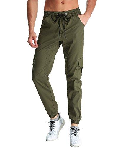 MODCHOK UOMO Pantaloni Lunghi Jogging Pantaloni di Sport Chino Jogger Tuta Sportiva Verde militare S