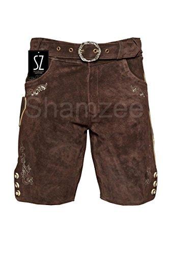 SHAMZEE Trachten Lederhose in Braun farbe inklusive Gürtel Echt Leder SHAMZEE lederhosen Gr. 46-62 (48, Braun)