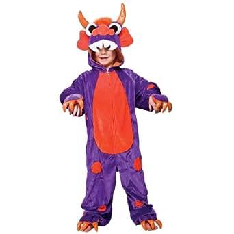 Mini enfant Monster Costume de déguisement monstre Onesie de garçons et de filles Outfit animale (3-4 ans, pourpre avec des taches orange)