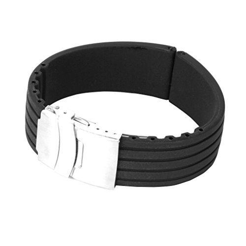Generic - Silicone watch strap rubber band buckle deployment 24 mm waterproof, black color