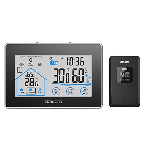 Price comparison product image Qisuw Thermometer Hygrometer-LCD Touch Screen Weather Station Displays Temperature Humidity Indoor Outdoor Sensor