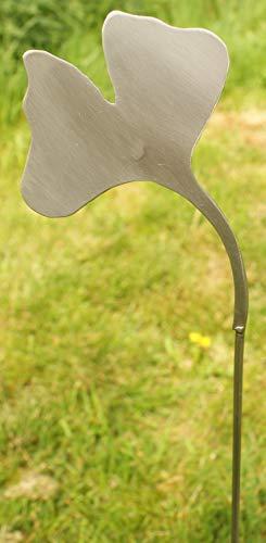 Gartendeko aus 100% Edelstahl Beetstecker Stab Gingko Blatt groß