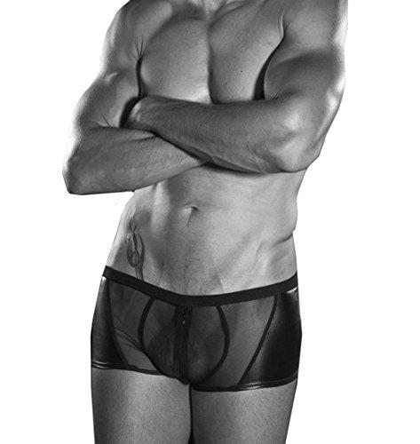 DuuoZy Mens-reizvolle Kunstleder Wiht Spitze-Ineinander greifen Breath Unterwäscheboxerschriftsatz- Trunk , black , xl (2 Person Halloween Kostüme)