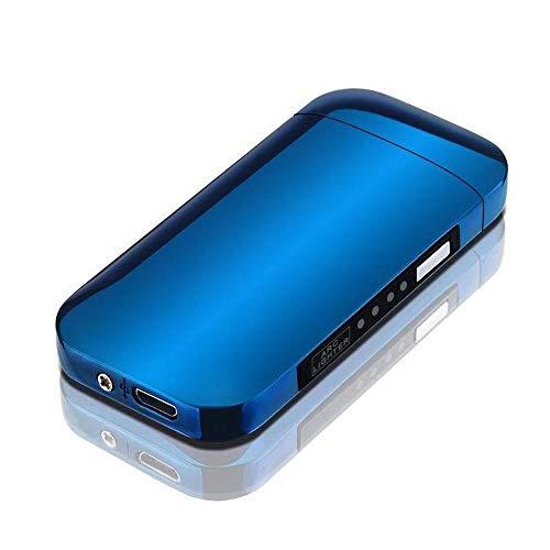 KOBWA Dual Arc Accendino Ricaricabile Sigaretta Accendino Elettrico USB Plasma W/Lo Stato della Batteria, Antivento Accendino per Candele Senza Fiamma, Sport all' Aperto Campeggio, Blue