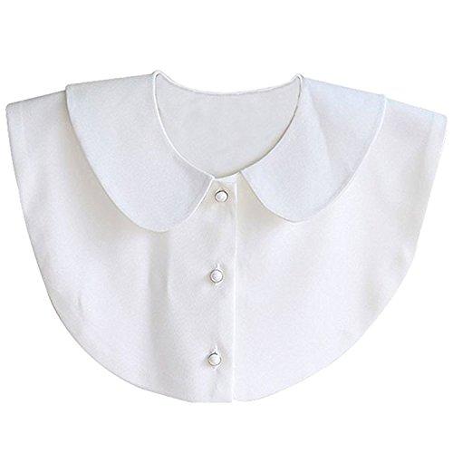 Fit 3 Verstecktes Gummiband (Aitos Fashion Doll Kragen Vintage Elegante Damenhalb Fake Hemd Bluse Weiß Abnehmbare (Weiß))