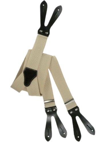 Olata unisex bretelle regolabili con vera pelle asole, 3.5cm larghezza - crema chiaro