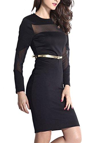 Damen-Empire-Taille-Midi-Cocktail-Kleid Black
