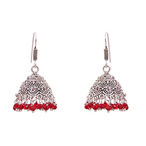 Best Valentine Gift Kaizer Jewelry Oxidized Silver Jhumki Earring -DS-67