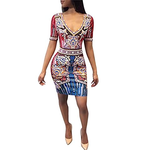 Robes, FEITONG Afrique Imprimer Crayon Svelte Manches courtes Femmes Sexy Fête Mini Robe de cocktail (M, Rose)