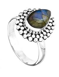 Anillo de la piedra preciosa con granos - plata de ley - Color Labradorita 7 tamaño del anillo