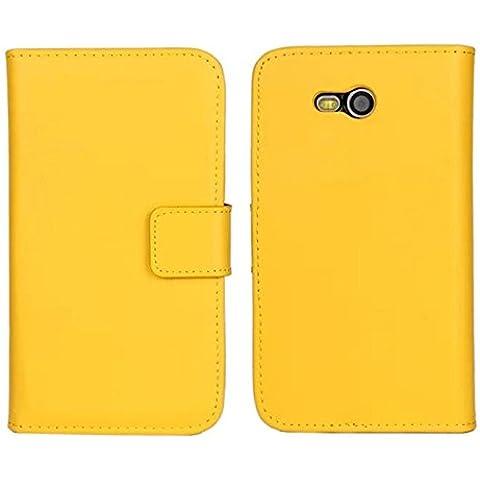 Lumia 820 Custodia,COOLKE [Giallo] Flip Protettiva Custodia Moda PU Pelle Stand Custodia Case Cover Per (Pronto Basamento Della Bandiera)