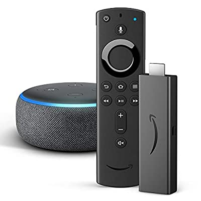 Amazon Fire TV Stick 4K UHD with all-new Alexa Voice Remote + Echo Dot (3rd Gen), Charcoal Fabric