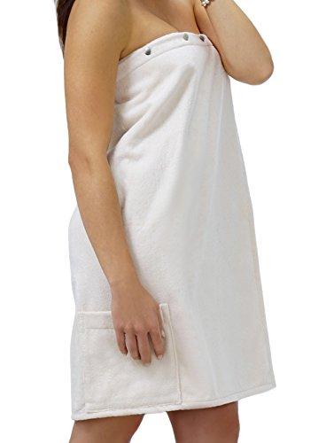 Saunakilt Dame rein - weiß, das Saunatuch FUN aus Frottee Baumwolle, Sauna Sarong mit Druckknöpfen, Tasche und Gummizug