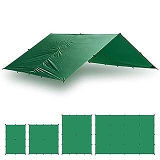 Aqua Quest Guide Tarp - 100% wasserdichtes Ultraleichtes Ripstop SilNylon Backpacking Regendach - 3x3 m Grün