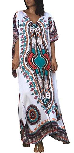 La Vogue Femme Robe Maxi Imprimé Ethnique Catfan Plage Tunique Bohême Col V Blanc