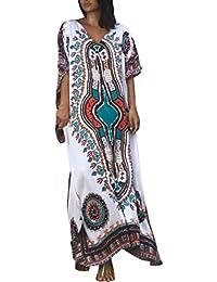 923d1ed9ec772 Licus Women Cotton Long Floral Kaftan Bikini Cover Up Beach Maxi Dress  Swimwear