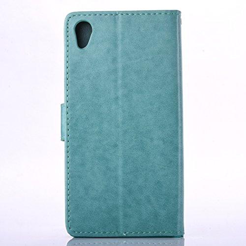 Hülle für Sony Xperia XA, Tasche für Sony Xperia XA, Case Cover für Sony Xperia XA, ISAKEN Farbig Blank Muster Folio PU Leder Flip Cover Brieftasche Geldbörse Wallet Case Ledertasche Handyhülle Tasche Blank Einfarbig Grün