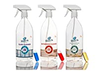 Ecosys Pack Of 3: Glass Cleaner, Bathroom Cleaner & Air Freshener-1Litre Spray Bottle With Capsule Each