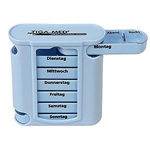 Tablettenbox Pillendose Medikamentendosierer Blau 7 Tage/1 Woche Medi Box Medikamentenspender Wochendispenser