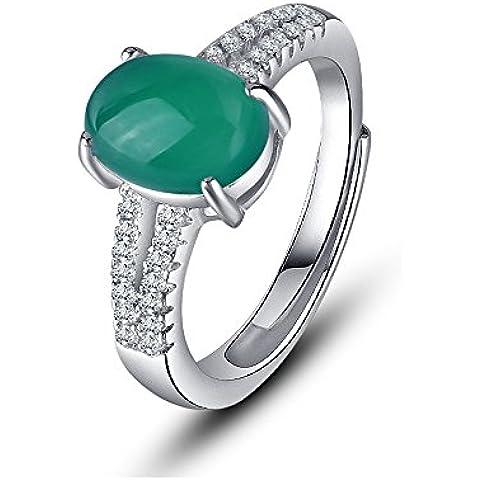 acxico con anello regolabile costellato di pietre preziose calcedonio, Verde