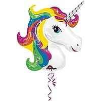 Amscan 3129901 33 x 29-Inch Rainbow Unicorn Super Shape Foil Balloon