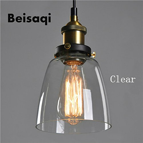 Vintage Industrial Edison Clear Glass Pendant Ceiling Light Retro Lamp Shade