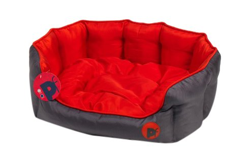 Petface Waterproof Oxford Pet Bed Puppy Dog Luxury Bedding Reversible Cushion - Oval Small (Red)