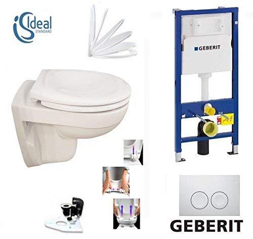 Geberit Duofix Vorwandelement UP 100 + Ideal Standard WC, Spülrandlos mit LotusClean Beschichtung + Absenkautomatik + Delta 21 Drückerplatte + WC Deckel - 2