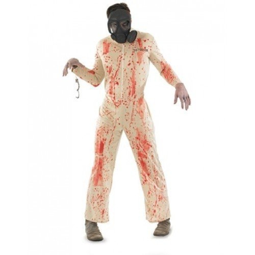 Herren Toter Zombie Gefangene & Gas Maske Halloween Kostüm Kleid Outfit M L XL - Beige, (Maske Kostüme Halloween Gas)