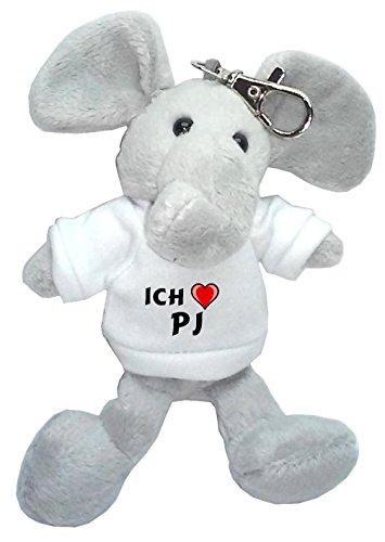 Elefanten Pj (Plüsch Elefant Schlüsselhalter mit T-shirt mit Aufschrift Ich liebe Pj (Vorname/Zuname/Spitzname))