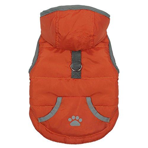 Pecute Vestiti per Cani Dog Vest Felpa con Cappuccio Invernale Con Fascia Chiusura per Cani Piccoli Medi (Arancione, L)