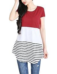 DSUK Femme T-Shirt Manche Courte Rayé Patchwork Col Rond Haut Chic Blouse Tunique