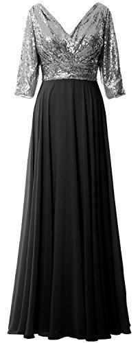 MACloth - Robe - Trapèze - Manches 3/4 - Femme Gray-Black