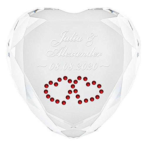 Geschenke 24 Herz Diamant (Weiß - Herzen in Rot) mit Namen und Datum graviert - personalisiertes Liebesgeschenk für sie und ihn - romantischer Diamant aus Kristallglas mit Gravur