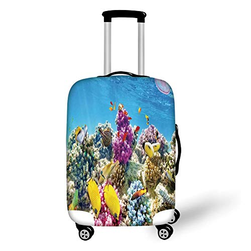 Travel Luggage Cover Suitcase Protector,Ocean,Intact Sea Life Fish School and Medusa Jellyfish at Clear Lagoon,Lavender Yellow and Aqua Blue,for Travel Medusa Zip