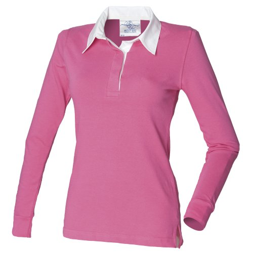 Front Row - Polo de Rugby 100% Coton - Femme Rose clair/Blanc