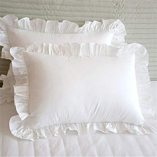 LNIMIKIY Funda de Almohada, 1 par, cojín de Hotel, decoración, Dormitorio, cómodo, Suave, con Volantes...
