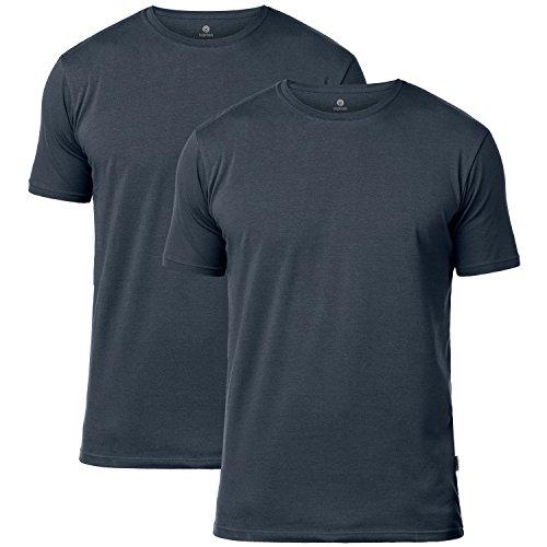 Lapasa uomo t-shirt pacco da 2 –cotone els premium- maglietta girocollo soffice e flessibile slim fit maniche corte m05 (x-large, grigio)