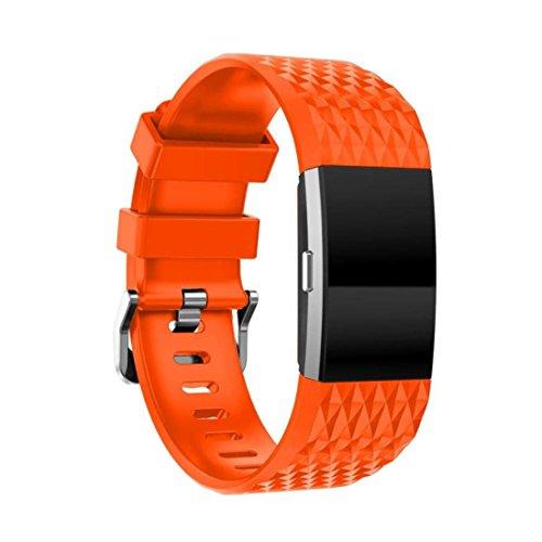 Pour Fitbit Charge 2de remplacement Band, Fulltime (TM) Mode Sports Bracelet en silicone Strap Band + HD Film pour Fitbit Charge 2, Homme femme Enfant, Orange