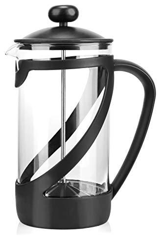 COM-FOUR® Kaffeebereiter mit French-Press-System - Kaffee-Presse dient auch als Teebereiter - Kaffee-Aufbrüher mit Glaszylinder (01 Stück - Kaffeeaufbrüher 1 Liter) (French Kaffee Presse)