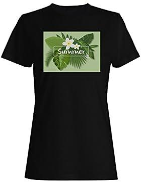 Nuevo Diseño De Verano Tropical camiseta de las mujeres i465f