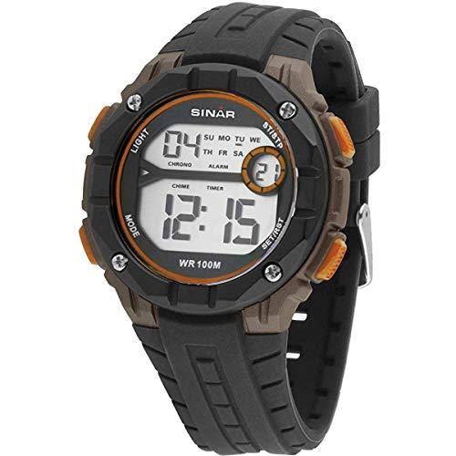 SINAR XE-56-9 - Reloj Deportivo Digital Juvenil Cuarzo, Sumergible a 10 Bares, Color Negro, Naranja...