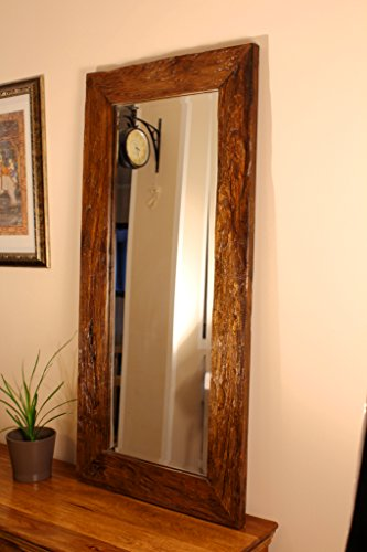 Kinaree 110cm Altholz Spiegel Teak Massivholz Wandspiegel horizontal oder vertikal