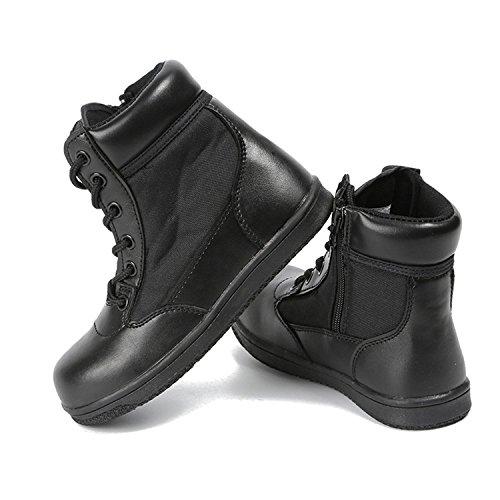 QIMAOO Wasserdichte Einsatzstiefel Kindersteifel Wanderschuhe Outdoor Schuhe für Kinder Jungen Mädchen Schwarz Größe 29-36 (Mädchen Militär Stiefel)