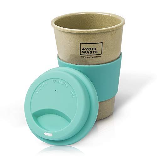 avoid waste - Nachhaltiger Kaffee-Becher to go aus Reishülsen. Der Mehrweg-Becher ist pflanzlich, biologisch abbaubar, BPA frei, spülmaschinenfest und umweltfreundlich (türkis)