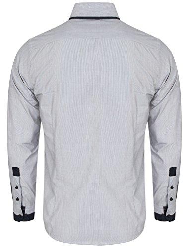 57414e30b6ea82 Tokyo Laundry Herren Deniro Fein Streifen Langarm Collared Shirt Größe S-XXL  Marine ...