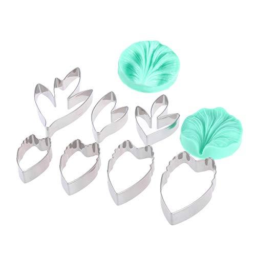 Cutter Ausstechformen (BESTONZON 9-teiliges Ausstechformen-Set mit den Formen Pfingstrose, Blume, Blütenblatt, Fondant- und Kuchen-Formen, Zuckerguss-Deko, Modellier-Utensilien)
