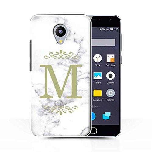 Stuff4® Personalisiert Weiß Marmor Mode Hülle für Meizu M2 Note/Gerahmt Gold Single Design/Initiale/Name/Text Schutzhülle/Case/Etui